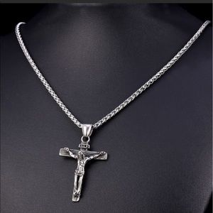 Other - New stainless steel men's cross necklace
